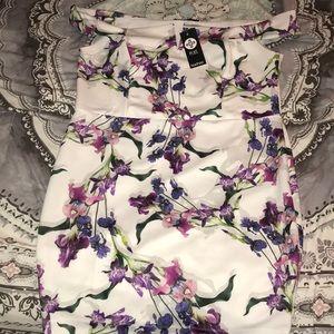 Floral Off the Shoulder Scuba Dress